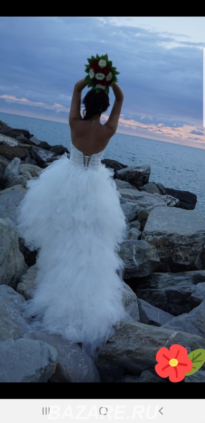 Короткое свадебное платье со шлейфом,  Саратов