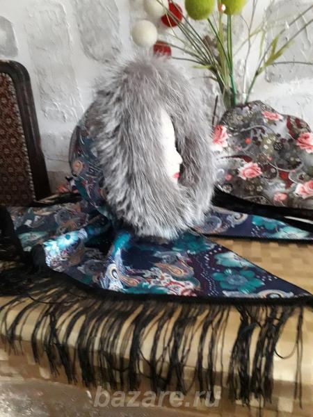 Теплые косынки на флисе отделка натуральный мех,  Абакан